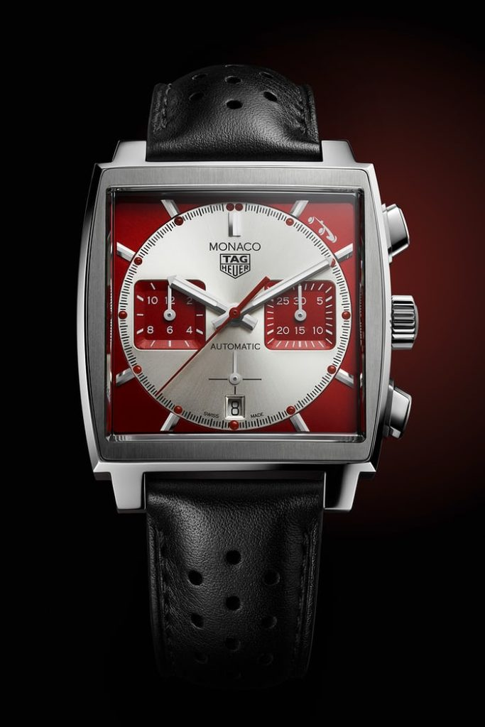 The Replica Monaco dial has an unusual red-and-white colorway